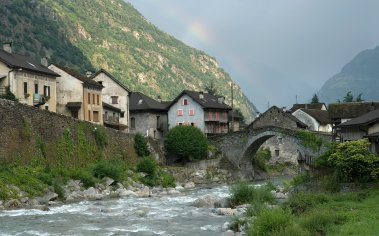 Giornico village on the Ticino River, Canton Ticino, Switzerland, Europe