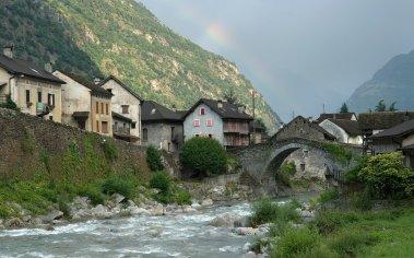 Giornico village on the Ticino River, Canton Ticino, Switzerland, Europe